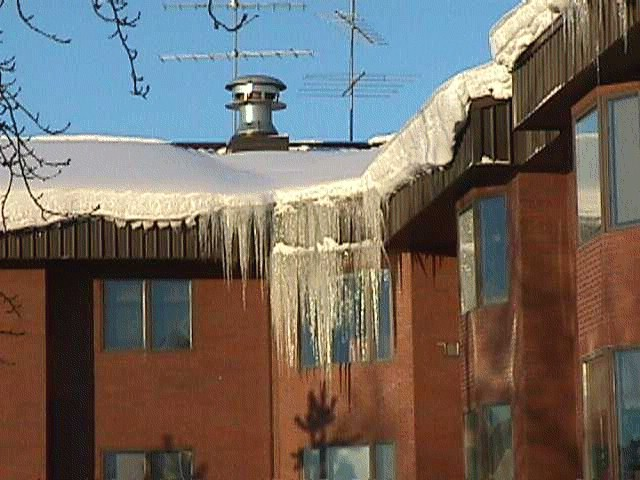 Ice damming on the roof can cause water damming and water damage.