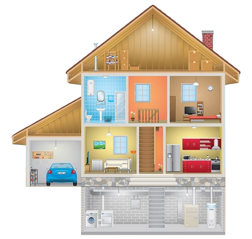 Healthy home cross-section diagram of rooms