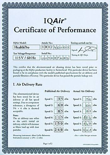 IQ AIR HealthPro Performance Certificate.