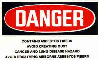 Asbestos Danger Sign.