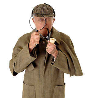 image of Sherlock Holmes detective with magnifying glass and pipe