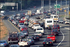high traffic areas may be very high in toxic air pollutants like carbon monoxide, nitrogen oxides, sulfur oxides, soot, and ozone from automobiles' and trucks' internal combustion engines and chemicals in atmosphere that result
