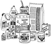 Bottles, boxes, cans, and bags of household chemical products