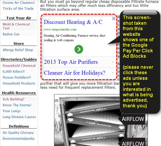 Image of pay per click ad on Home Air Purifier Expert.com