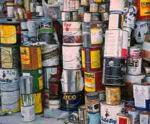 image of stacks of paint cans and solvents