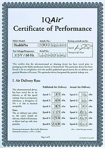 IQ AIR HealthPro Performance Certificate.