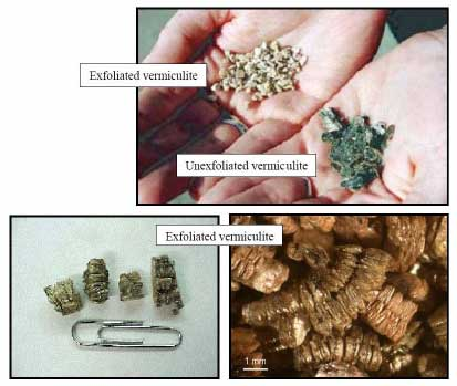 Images of 2 forms of Vermiculite insulation.